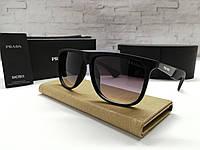 Мужские солнцезащитные черные очки Prada