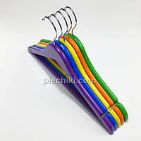 Плечики вешалки тремпеля деревянные детские (набор цветов), длина 380 мм в упаковке 5 штук