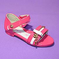 Босоножки летние лакированные для девочки, малиновый цвет.27 размер