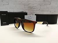 Мужские солнцезащитные коричневые очки Prada