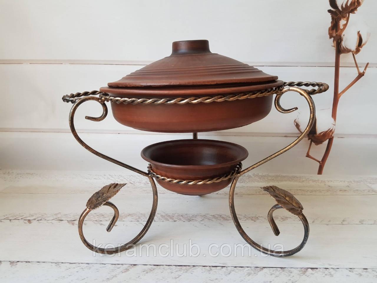 Садж для подачи мясных блюд со сковородой из красной глины 2 л