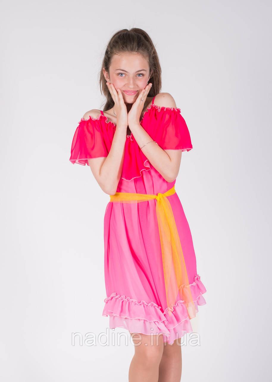 Шифоновое платье омбре Bright Alstrmeria Eirena Nadine (115-40) на рост 140  ярко розовый