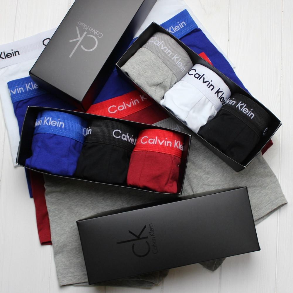 Мужские трусы боксеры транки шорты на узкой резинке в брендовой подарочной упаковке модель 365 3 шт хлопок