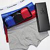 Мужские трусы боксеры транки шорты на узкой резинке в брендовой подарочной упаковке модель 365 3 шт хлопок, фото 2
