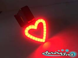 """Задній ліхтар для велосипеда червоний у вигляді """"СЕРЦЕ""""."""