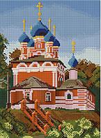 Набор для вышивания крестиком Храм в начале весны. Размер: 17,5*23,8 см