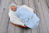 """Пеленки на липучках """"Капитоне"""" с шапочкой, нежно голубого цвета, для деток 0-3 мес., фото 1"""