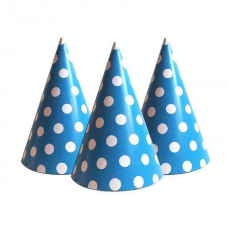 Бумажный Колпачок 16см Горошек синий, фото 2