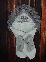 Красивый конверт на выписку с итальянским кружевом и вышивкой весна-лето-осень, фото 1