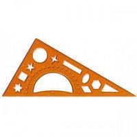 Треугольник 20см + транспортир 20*90*30см + трафарет (геометрические фигуры), 990214