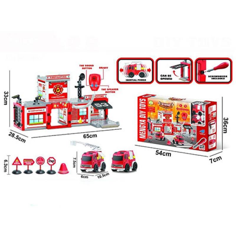 Конструктор  на шурупах, пожарный участок, машинка, 91 дет., звук, свет, MY2203