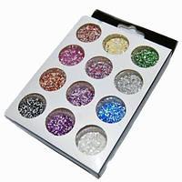 Песок цветной для дизайна ногтей YRE NDS-12C, набор 12 шт, песок для дизайна ногтей, декор ногтей, песочный маникюр, глитер- песок