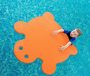 Матрас для плавания (плот, мат для плавания) EVA-LINE Черепаха 950*900*30 мм оранжевый