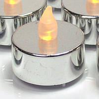 """Светодиодная свеча """"чайная"""" серебристая SVG10"""