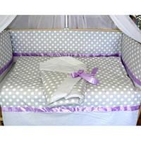 Наборы постельного белья в детскую кроватку и конверт на выписку - 9 единиц