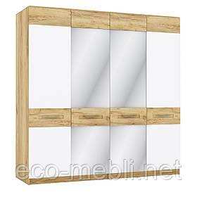 Шафа розпашна O 4Д з дзеркалом в спальню Camilla Дуб Крафт Золотий/ Білий Матовий Blonski
