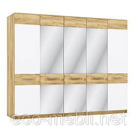 Шафа розпашна P 5Д з дзеркалом в спальню Camilla Дуб Крафт Золотий/ Білий Матовий Blonski