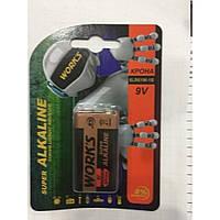Батарейка Works 6LR61 Alkaline крона, 9V, батарейка Works, Батарея, батареи и аккумуляторы, батарейки