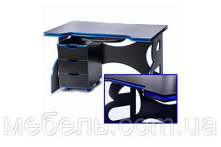 Компьютерные столы стол с мобильной тумбой Barsky Game blue, фото 2