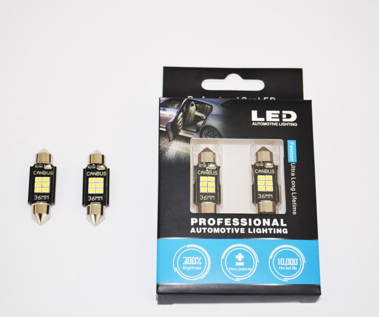 Светодиодные лампы LED лампы STELLAR SV8,5(C10W) 36мм с обманкой в подсветку номера и салона.