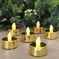"""Светодиодные свечи """"чайные"""" золотистые GDG10 набор"""