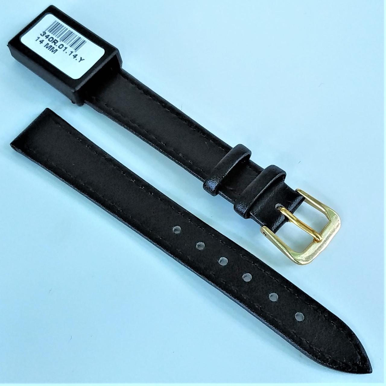 14 мм Кожаный Ремешок для часов CONDOR 340.14.01 Черный Ремешок на часы из Натуральной кожи