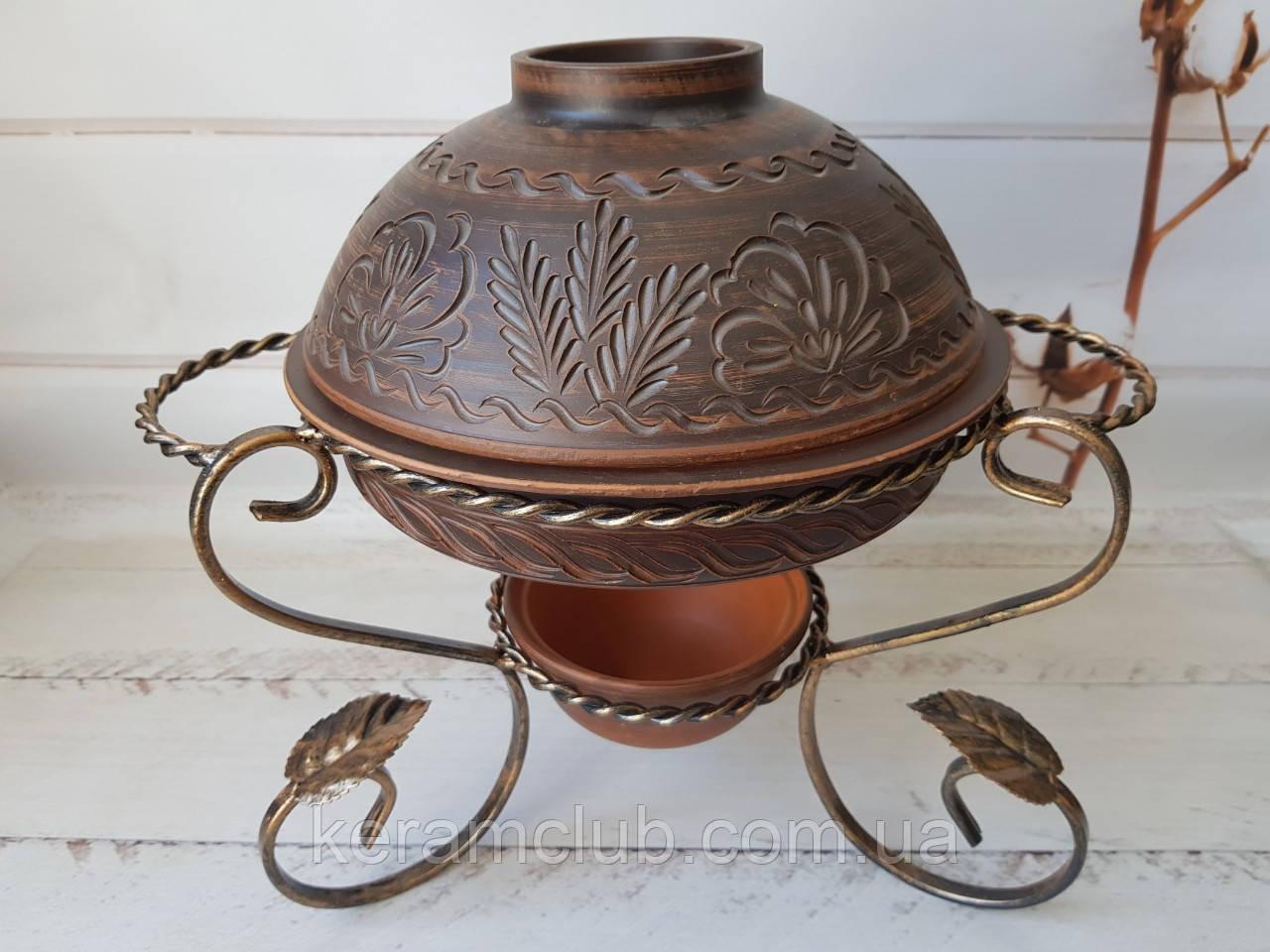 Садж для подачи шашлыка с формой из красной глины 2 л