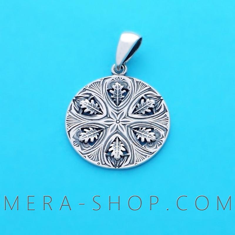 Символ Перуна Громовик серебряный оберег славянский кулон из серебра 925 пробы (22 мм, 3.2 г)