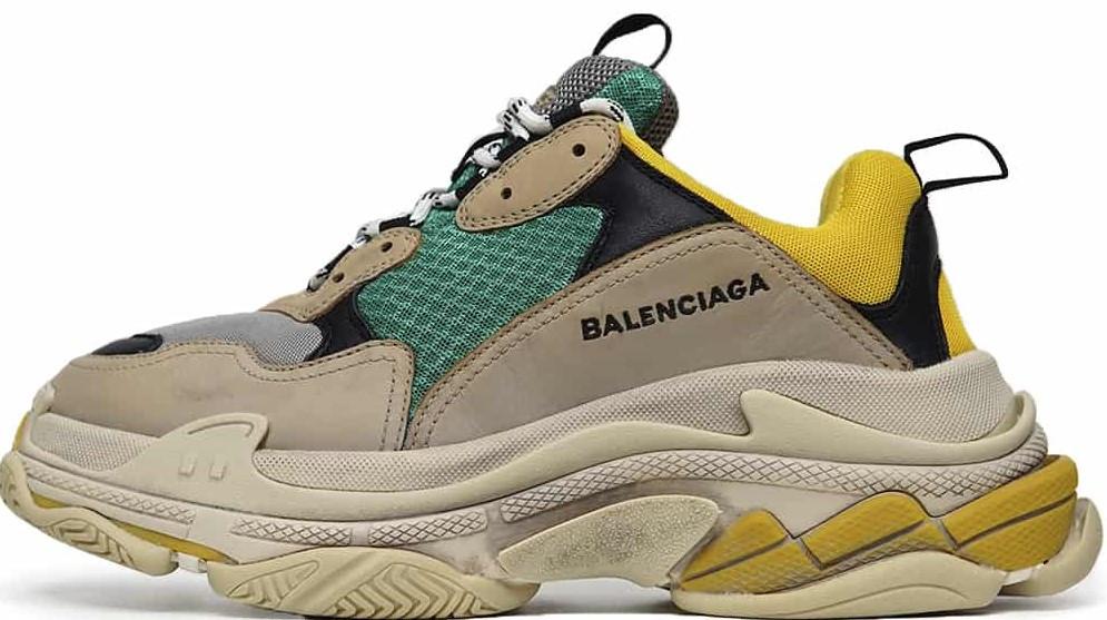 "Женские кроссовки Balenciaga Triple S ""Yellow/Green/Vert"" в стиле Баленсиага)"