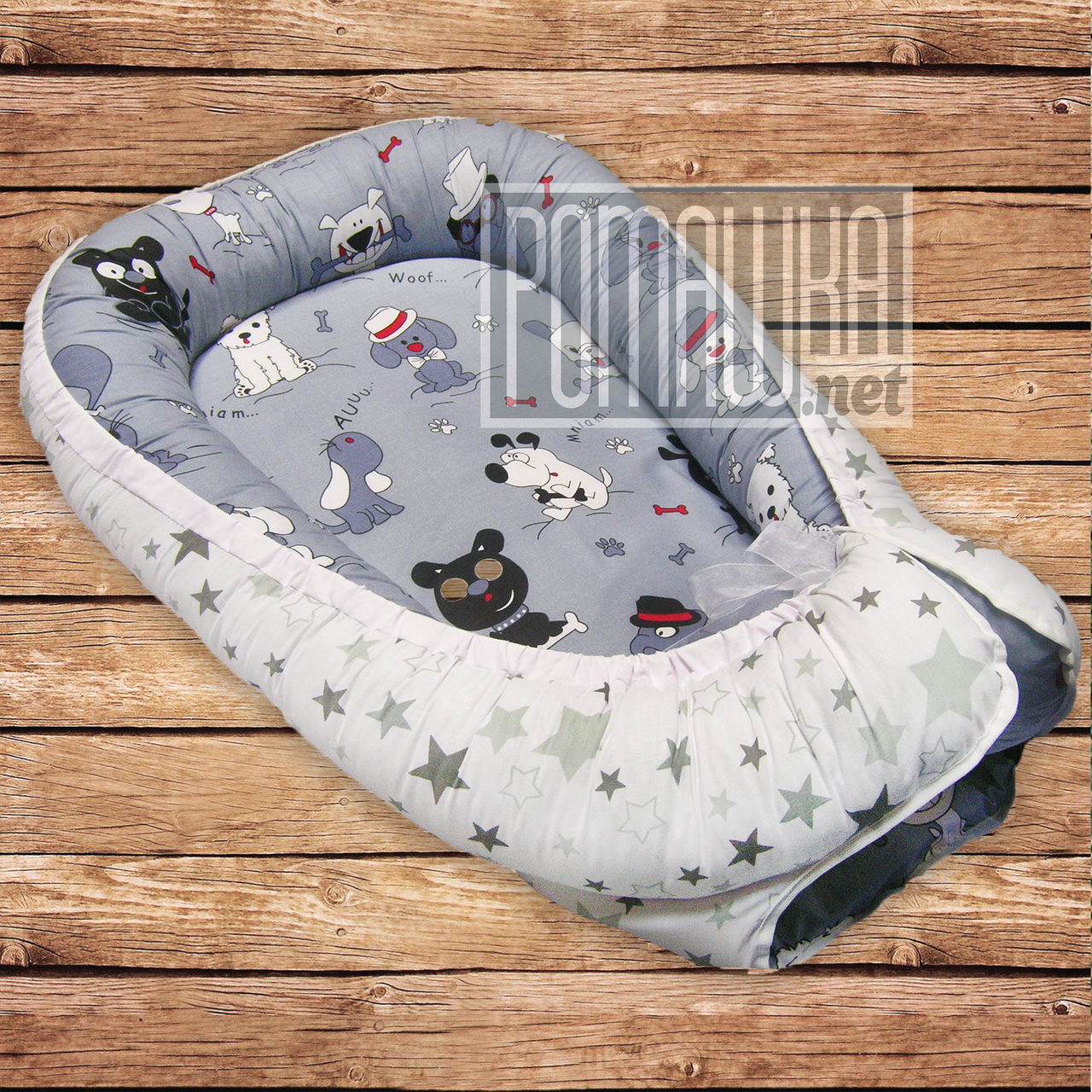 Кокон позиционер гнёздышко 85х55 см люлька ограничитель для сна новорожденных малышей младенцев 4760 Серый