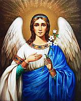 Вышивка камнями Ангел Хранитель в размере 50 х 40 см