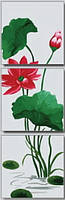 Картина раскраска триптих цветы MENGLEI 50 х 150 см. Фен-Шуй. Цветок лотоса в полном цвету