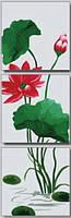 Картина раскраска триптих по номерам MENGLEI 50 х 150 см.  Фен-Шуй. Цветок лотоса в полном цвету
