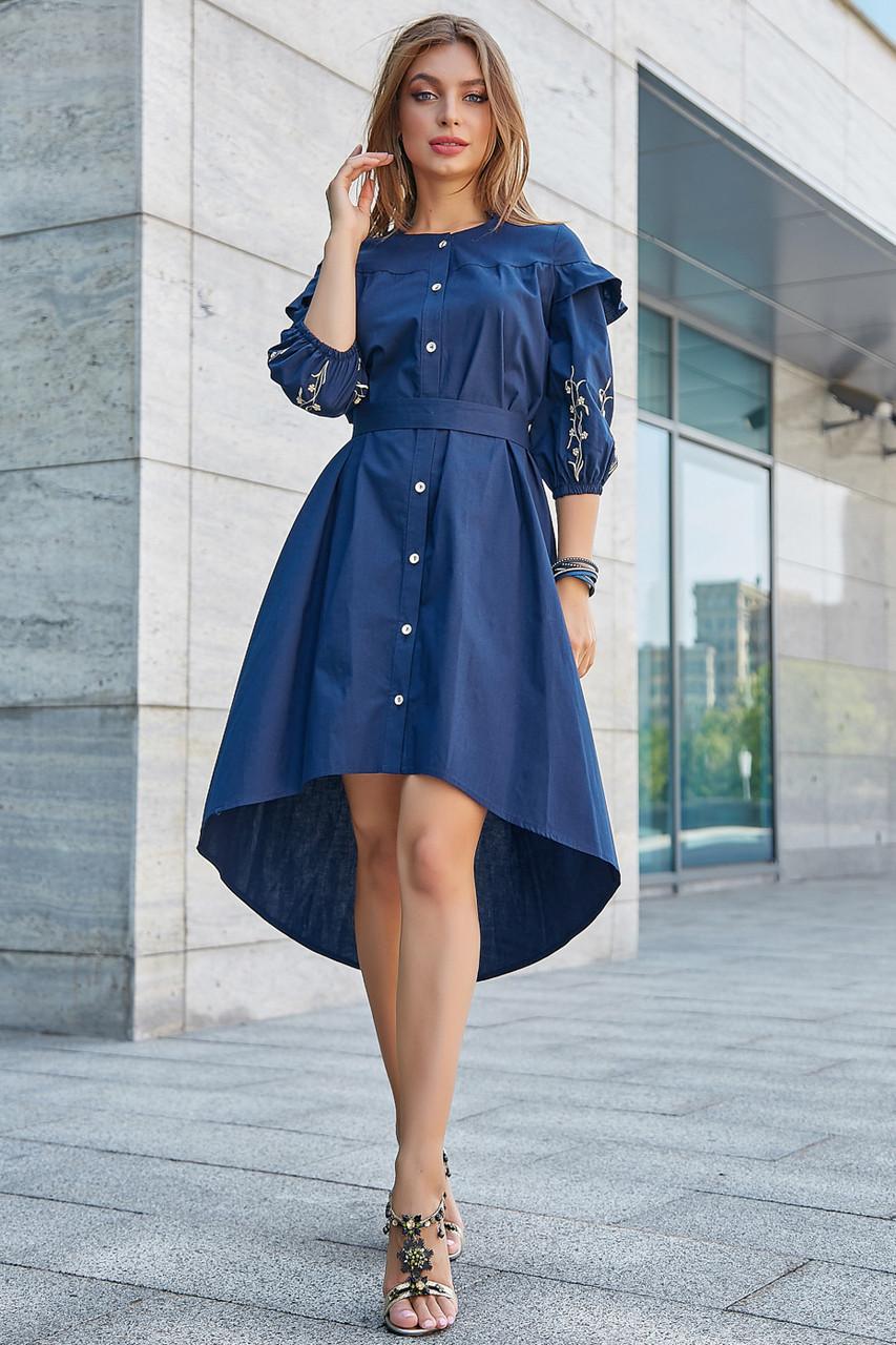 9367c876b33a374 Женское летнее платье с рюшами, синее с вышивкой, повседневное, молодёжное,  асимметричное, нарядное