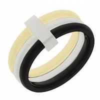 Стильное кольцо из медицинской стали 316L c титановым напылением 101694