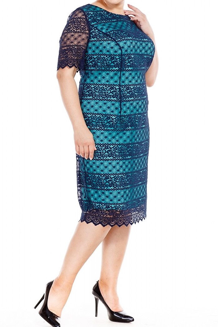Платье нарядное синий гипюр на мятной подкладке большого размера