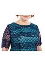 Платье нарядное синий гипюр на мятной подкладке большого размера, фото 2