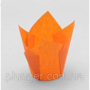 """Форма паперова для кексів """"Тюльпан"""" помаранчева, дно 5 см"""