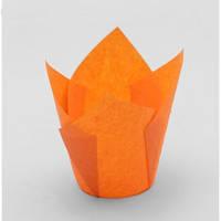 """Форма бумажная для кексов """"Тюльпан"""" оранжевая, дно 5 см, 12 шт"""