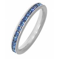 Кольцо из медицинской стали на фалангу женское с голубыми циркониями 101714