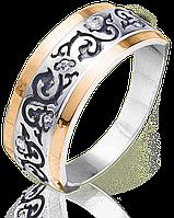 Кольцо с рисунком и камнями Юрьев 56к 17