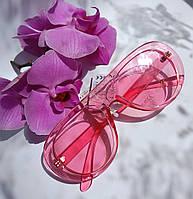 Имиджевые солнцезащитные молодежные очки розовые прозрачные (079), фото 1