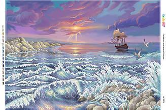 """Схема для вышивки бисером на габардине пейзаж """"Морской пейзаж"""""""