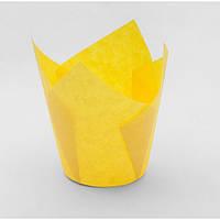 """Форма бумажная для кексов """"Тюльпан"""" желтая, дно 5 см, 12 шт"""