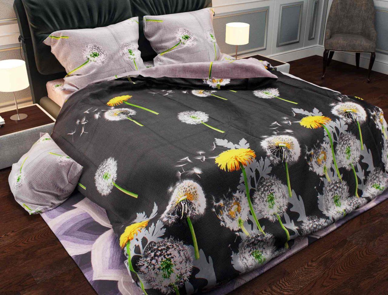 Комплект постельного белья евро на резинке 200*220 хлопок (12125) TM KRISPOL Украина