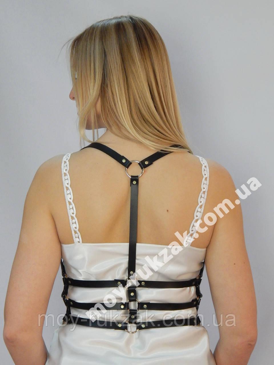 Женская портупея тройная узкая с кольцами арт.930759