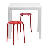 MELLTORP / MARIUS   Стол и 2 стула, белый, красный