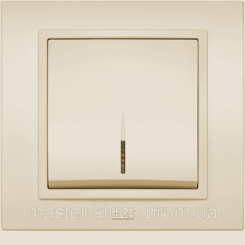 Выключатель 1-й с подсветкой EL-BI Zena кремовый