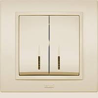Выключатель 2-й с подсветкой EL-BI Zena кремовый