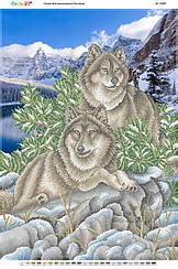 """Схема для вышивки бисером на габардине пейзаж """"Волки"""""""